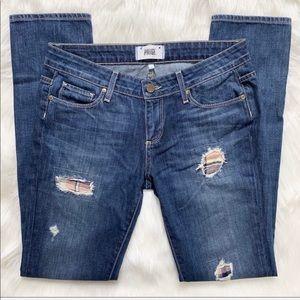 Paige Boyfriend Distressed Patched Jeans